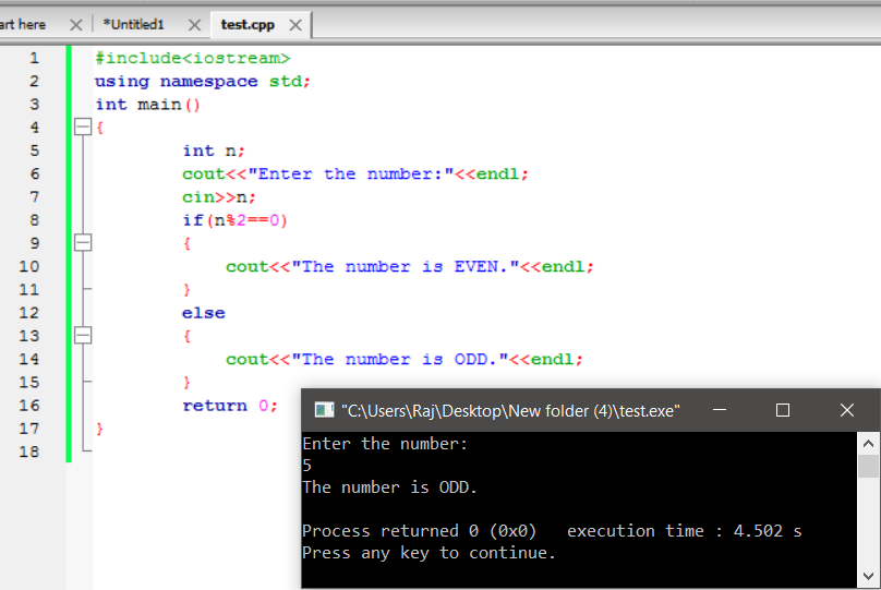 c++ program to find the number is even or odd