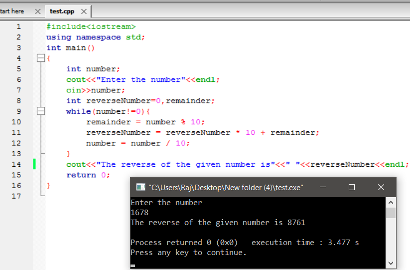 C++ program to find the reverse of the number