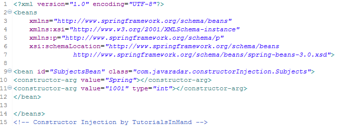 constructor injection spring by tutorialsinhand.com