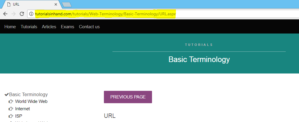 URL example by tutorials in hand