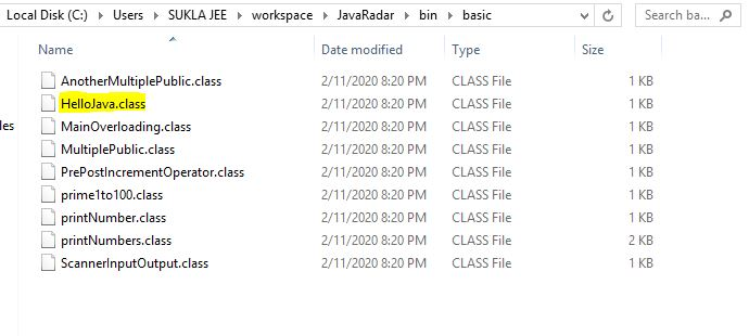 java .class files containing bytecode